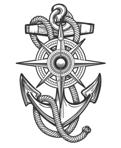 Anchor with Compass Engraving Illustration
